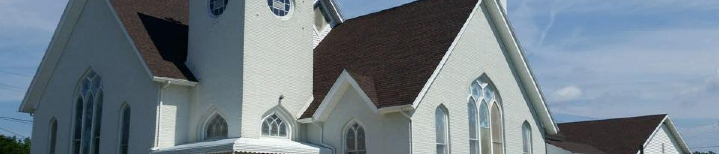large church with new architectural shingle asphalt roof