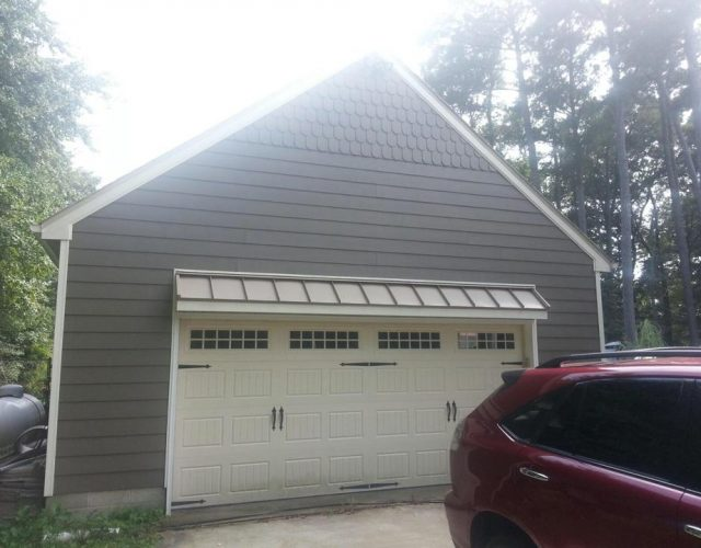 gray garage with new James Hardie siding