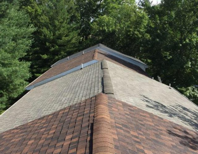 close up view of completed tamko shingle roof on duplex apartment