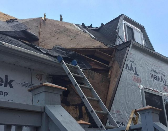 old roof on geodesic house getting removed