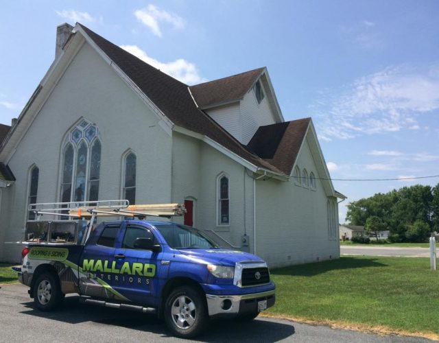 shingle installation project on church in berlin maryland