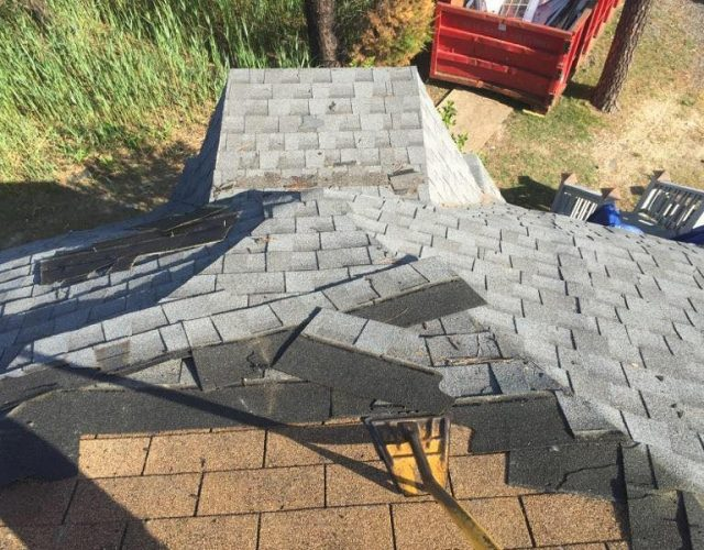removing old gray shingles from geodesic home