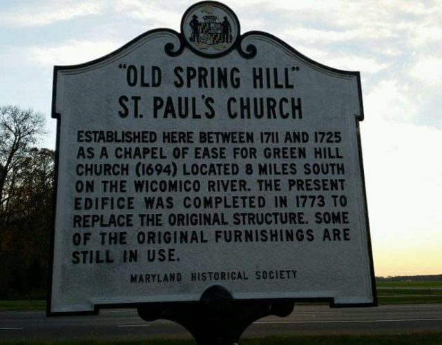 sign of old spring hill st paul's church