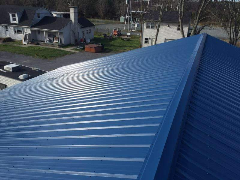 close up of blue rib metal roof