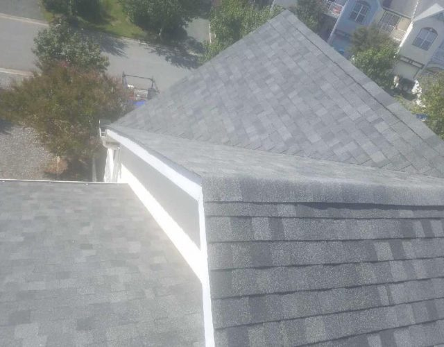 close up of completed asphalt roof project